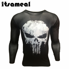 Itsameal Punisher Costumes Compression Men's Long Sleeve T-Shirts 3D Printed Raglan Homme Slim Fashion Tops Tees for Male