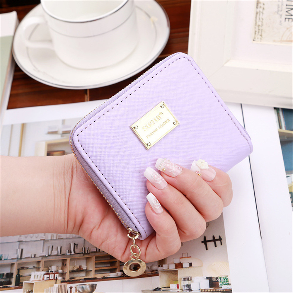 2017 High Quality women wallet Brand Metal sheets Decorate PU Leather Wallet Women Fashion Zipper Wallet
