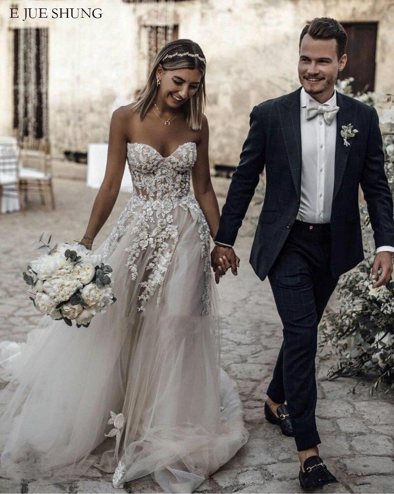 E JUE SHUNG Lace Appliques Boho Wedding Dresses Sweetheart Beach Wedding Gowns Bride Dress Robe De Mariee