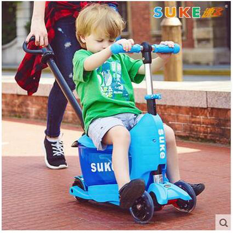 Kids Trolley Scooter With Suitcase And Safe Handle Bar Pu