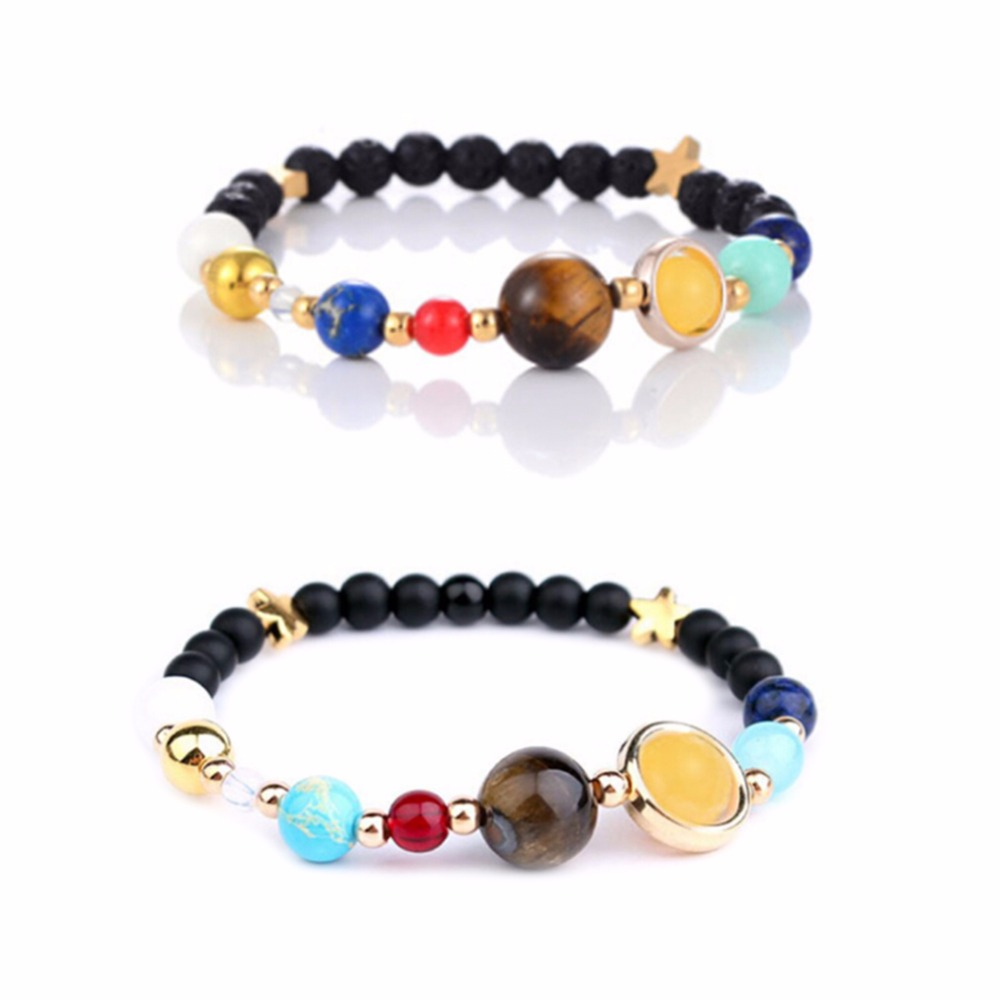 Bohemia Universe Galaxy the Eight Planets in the Solar System Guardian Star Natural Stone Beaded Bracelet for Women & Men