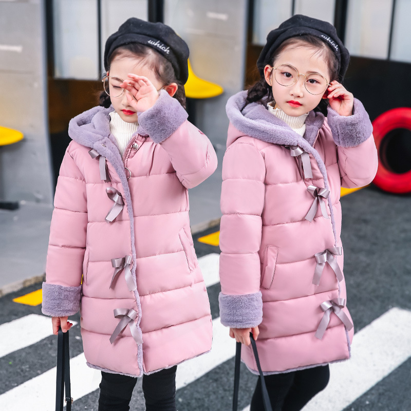 Girls Cotton Padded Warm Winter Coat Girl Thick Hooded Jacket Cotton Parka Long Overcoat Kids Snowsuit Plus Velvet Cotton Jacket real fox fur warm hooded padded jacket women solid color casual manteau femme hiver medium long parka slim coat cotton tt3461