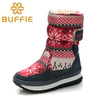 Women Boots New Arrival Women Mid Calf Snow Boots High Quality Fur Printed Warm Winter Shoes