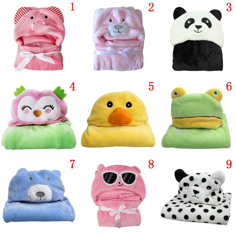 Baby Blanket Soft Baby Child Bath Towel Cartoon Animal Shape Hooded Towel  Baby Package Hooded Bathrobe