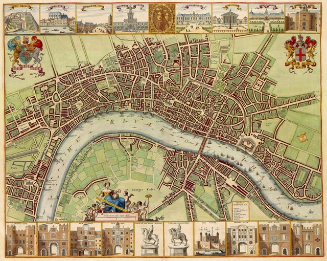 Map of 17th Century London  Cotton Canvas Bird View Old London Map     Map of 17th Century London  Cotton Canvas Bird View Old London Map  Wall  Hanging