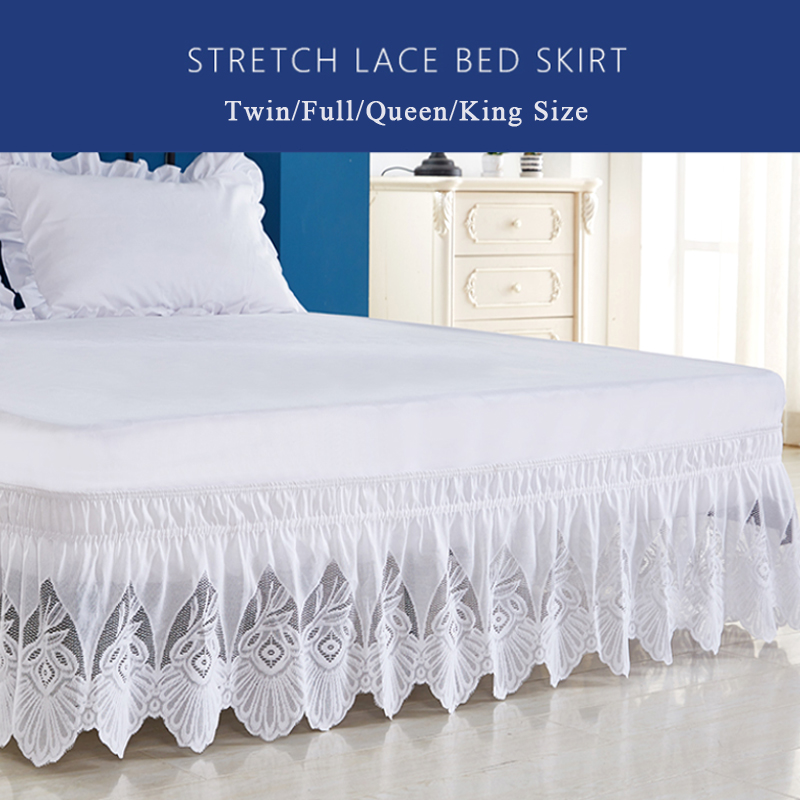 Enipate Ruffles Lace Pure Color Bed Skirt High Quality Elastic Loose Bed Apron Bed Skirt Twin Full Queen King Size Bed Decor