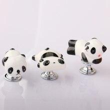 Ручки двери шкафа в форме милой мультяшной панды, мебель для детской комнаты, выдвижные керамические ручки