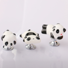 Lovely Cartoon Panda Shape Cabinet Door Knobs, Kids room furniture Drawer Dresser Ceramic Knob Pulls Handle 1pcs european style rural ceramic drawer cabinet cupboard door knob furniture handle for kids children s room