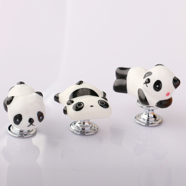 Lovely Cartoon Panda Shape Cabinet Door Knobs, Kids Room Furniture Drawer  Dresser Ceramic Knob Pulls