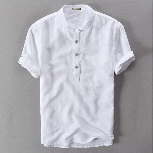 6cd22baa0 Sky Blue Grey White Navy Flax Hemp Summer Male Short Sleeve Traditional  Chinese Collar Linen Shirt