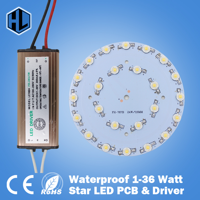 HIGH QUALITY 100PCS 1W3W5W7W9W12W15W18W21W24W30W36W LED Star high power led chip board panel+Waterproof power supply driver