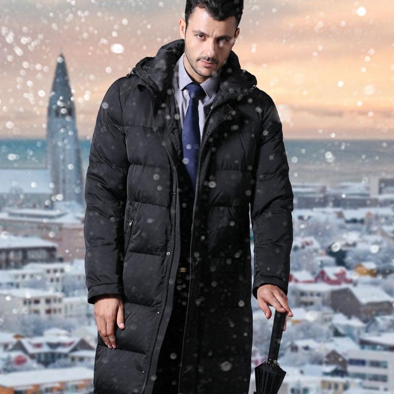 2017new long down jacket men's business suits black down coat ...