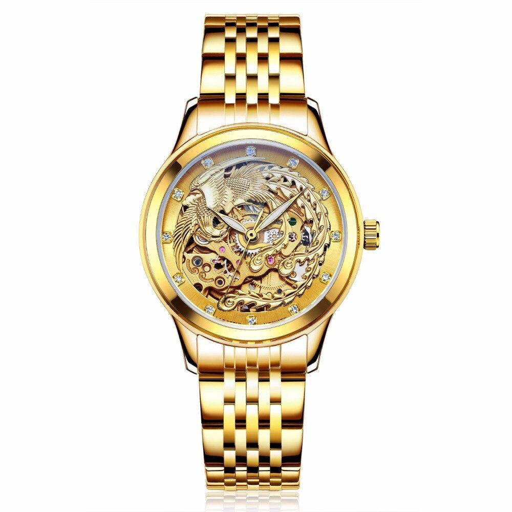 Luxury Brand Watches Women's Automatic Mechanical Watches For Women Gold Phoenix Mechanical Watch Waterproof Senhoras Assistir