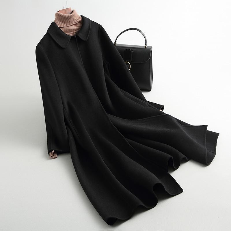 KMETRAM 100% Wolle Herbst Warme Weibliche Mantel Damen Lose Lange Jacke Rot Vintage Casual Frühling Mantel Casaco Feminino MY136 - 2