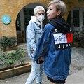 2016 mens jaqueta Jeans Rasgado homem unisex quebrado jean jaquetas hip hop streetwear impressão solto, Locomotiva zíper decoração