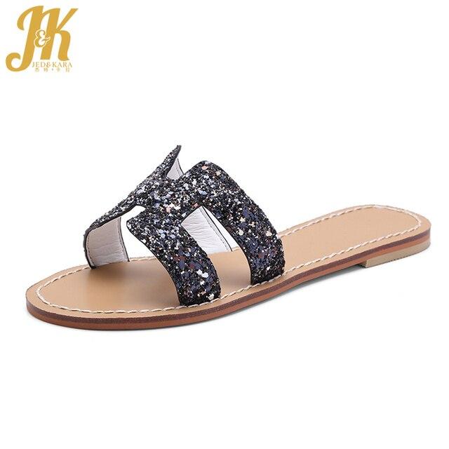 6e46840a7 JK 2018 Women Bling Flat Mules Fashion Outdoor Slippers Ladies Glitter  Slides Open Toe Footwear Summer Casual Shoes Rubber Sole