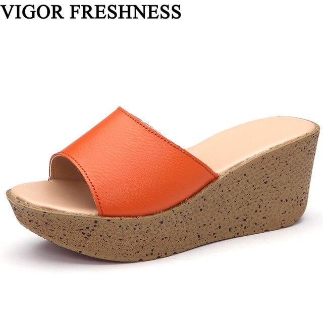 912f965d53d1 VIGOR свежесть Для женщин летние сандалии из натуральной кожи; женская  обувь на ...