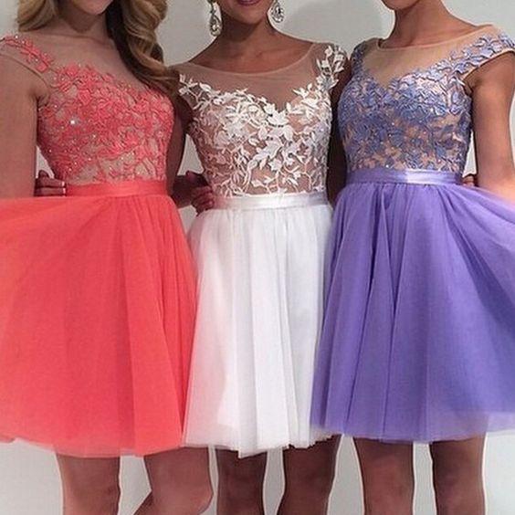 Weiß Lila Pink Homecoming Kleider Kurze Junior Tüll Appliques Graduation Kleider Eine Linie Mini Länge Mezuniyet Elbiseleri Schmerzen Haben Weddings & Events