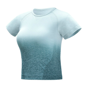 Colorvalue Gradient Sport Short Sleeve Shirts Women Slim O neck Fitness Gym Crop Tops T