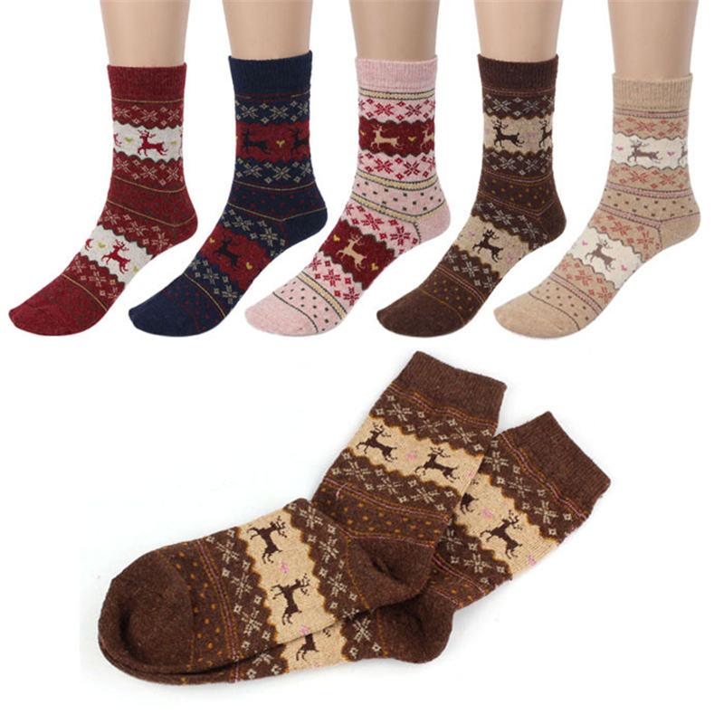 LNCDIS Harajuku Skarpetki Women Socks Cute Content Christmas Socks Deer Design Casual Knit Wool Funny Socks Warm Winter Mens P#