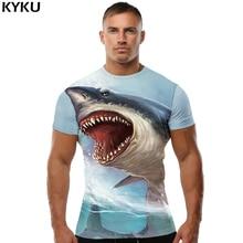 KYKU Brand Shark Shirt Men T Sea 3d Fitness Bodybuilding Anime Funny Shirts Mens Clothing Short Sleeves S To 4XL