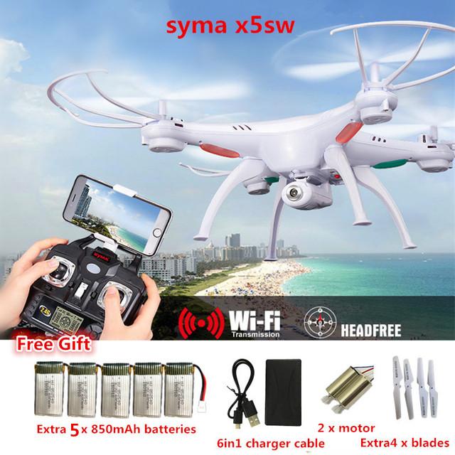 Drones profissionais X5SW zangão com o wifi câmera fpv Quadcopter syma SYMA x5c quadcopter versão atualizada Em tempo Real de vídeo