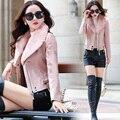 Кожаная куртка женщины классический Шор мода ягненка меховой воротник Южной Кореи стиль пу куртка, чтобы согреться пальто