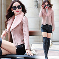 leather jacket women classic Shor fashion lamb fur collar South Korean style pu jacket to keep warm coat