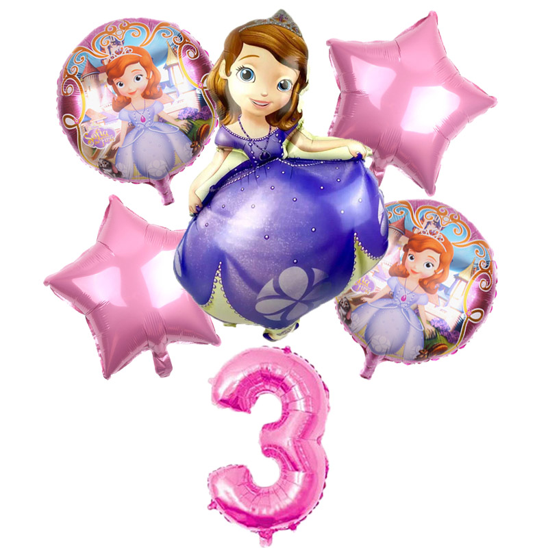 6Pcs Big Princess Sofia Themed Party Decor Helium Balloons Birthday Party 32 Inch Number Balloon Kid Toys Baby Shower Globos