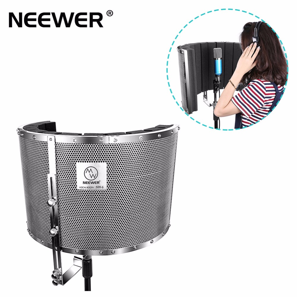 Neewer Microphone Isolation Shield Absorber Filter Lightweight Aluminum Panel, Thick Soundproofing Foams, Mic Stand 5/8 Thread isolation