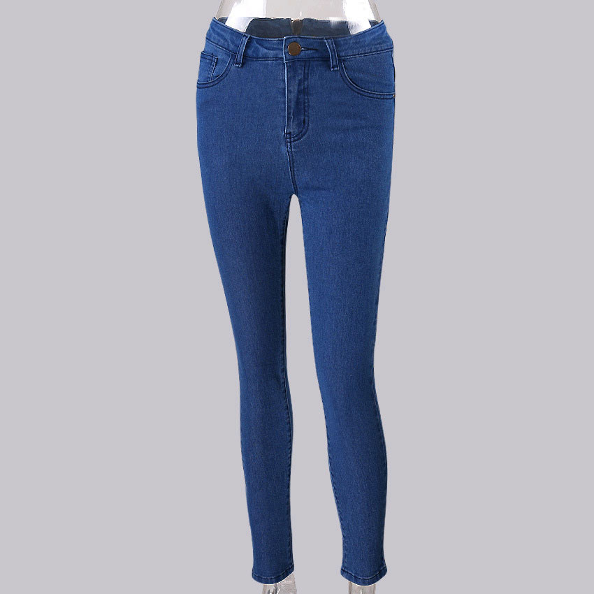 Bottoms 1 Pc Women High Waist Jeans Fashion Stretchy Button Fly Denim Skinny Pants Dark Blue Trousers With Pocket 5 Sizes The Latest Fashion Women's Clothing