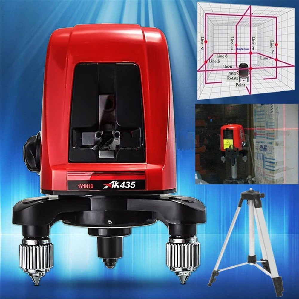 AK435 360 graus de auto-nivelamento mini Portátil Os Níveis de linha de Metro 2 1 ponto Cruz Laser Vermelho 635nm Instrumento de Nivelamento ferramentas