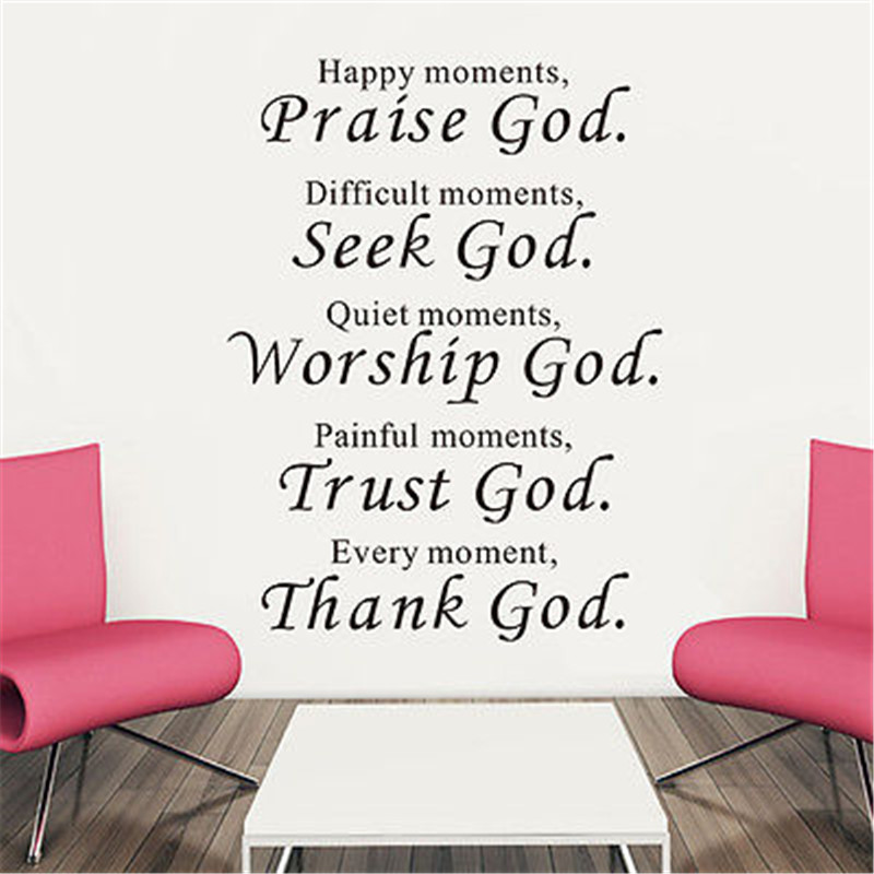 Vinyl Words Quote Poem Thank God Wall Sticker Art decal Room decor removable B