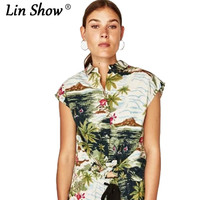 LINSHOW Casual Linen Rainforest Printed Toyouth Summer Women T Shirt Button Batwing Sleeve Woman Tops Party