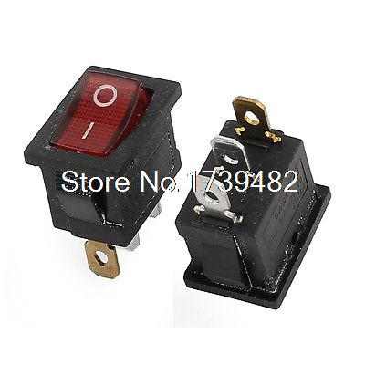 6A/250V 10A/125VAC Red Light ON/OFF I/O SPST Snap in Boat Rocket Switch 3Pin 5pcs lot 21 15mm spst 3pin snap in on off on position snap boat rocker switch 6a 250v high quality copper feet