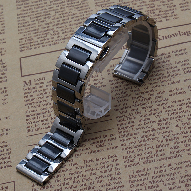 Ceramic & Stainless Steel Watchband Watch Band Wrist Strap Link Bracelet Black Silver Fit smart watch Gear S2 S3 width 20mm 22mm 20mm 22mm ceramic
