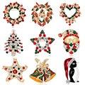 Ano novo de Moda broche de flor de Bell de Natal do pinguim crytal Broche pinos para mulheres cor de pedra broche de Natal presentes de Natal