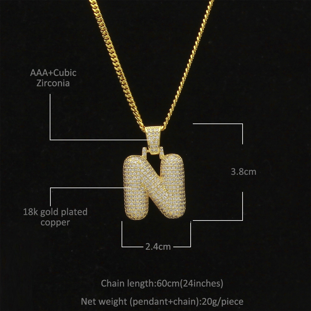 Uwin Custom Bubble Initial Letters Pendant Necklace Words Name With 4mm CZ Tennis Chains Full Iced Cubic Zirconia Jewelry