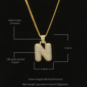 Image 2 - Uwin Custom Bubble Initial Letters Pendant Necklace Words Name With 4mm CZ Tennis Chains Full Iced Cubic Zirconia Jewelry