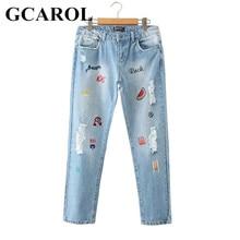 Женщины вышивка дизайн симпатичные джинсы разорвал бренда джинсы мода причинной лето весна осень большие размеры брюкиджинсы женскиеджинсыбрюки женскиерваные джинсыбрюки женские классическиебрюкибрюки женские