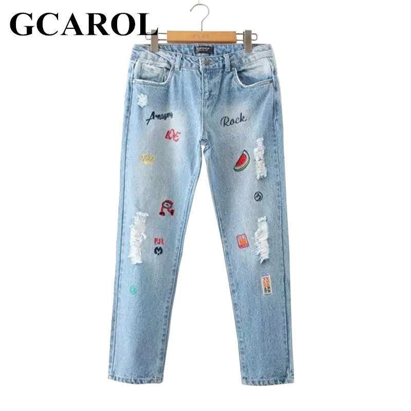 GCAROL 2017 New Arrival Women Letter Embroidery Denim Jeans Fashion Causal Ripped Jeans Ankle-Length 42 Pants For 4 Season