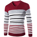 Free shipping new 2015 winter new men's V-neck knit sweater color bar fight