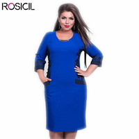 3 4 Sleeve L Plus Size Women Loose Casual Office Dresses 6XL Big Size Bodycon Dress