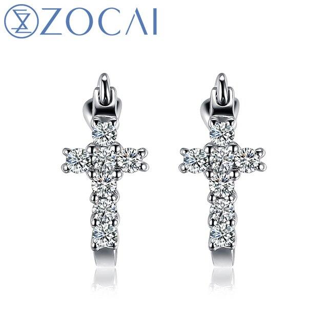 Zocai Blessing Natural 0 21 Ct Certified H Diamond Cross Hoop Earrings Jewelry Round Cut 18k