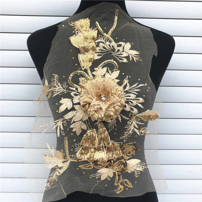 ... 1PC Embroidered 3D Flower Net Lace Sequins Rice Ears Flower Floral  Patches Sew-on Appliques ... 9b062da7fb8c