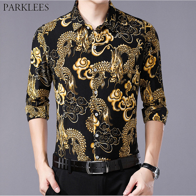 57158a08c Men's Hipster Chinese Dragon Print Dress Shirt Men Slim Fit Long Sleeve  Camisa Masculina Casual Button