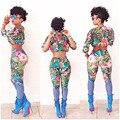 Novo 2016 Rompers Mulheres Macacão de Duas Peças da Cópia Floral Mulheres Playsuits Macacão Mangas Longas Slim Geral Casuais Calças Calças