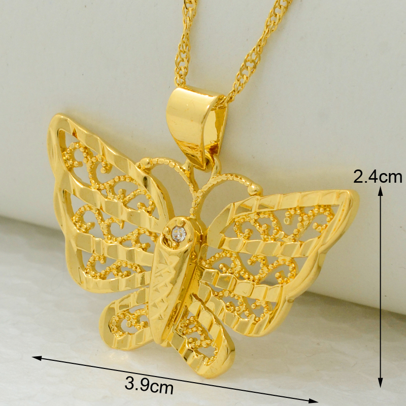 Beautiful golden butterfly pendant necklace chain 22k gold plated ...