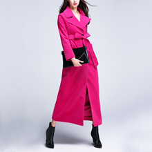 2017 Women Long Rose Wool Trench Coats Ladies Retro Commuter Solid Color Slim Long Woolen Coats