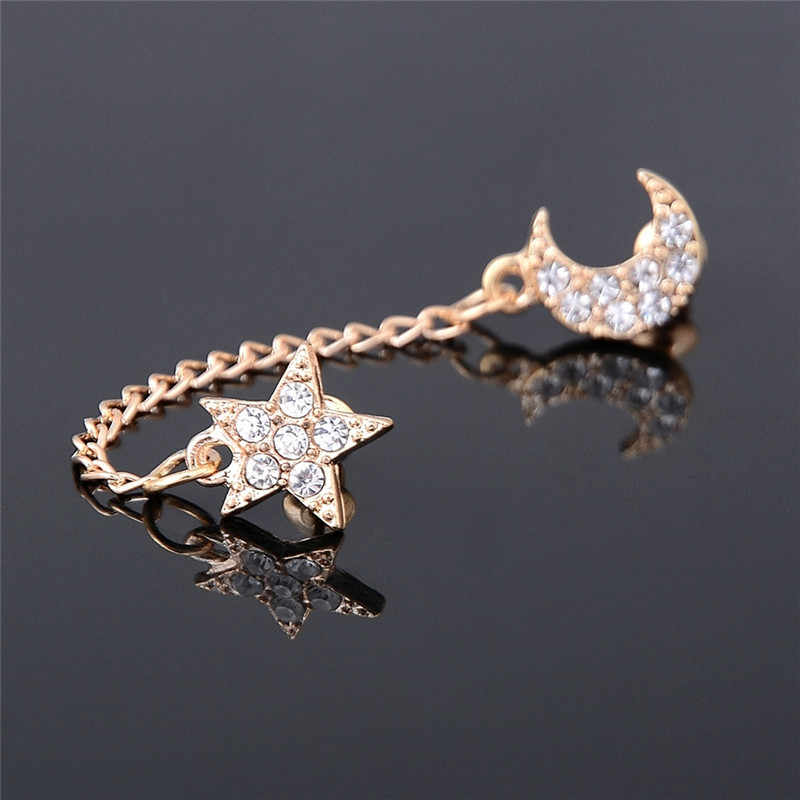 Vintage Two Piercing One Side Golden Chain Crystal Rhinestone Moon Star Ear Cuff For Double Hole Earring Jewelry